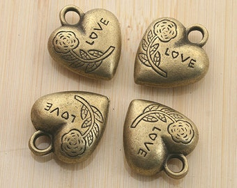 6pcs antiqued bronze color 2sided love heart design pendant G1999