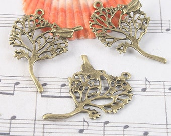 18pcs antiqued brass a bird in the tree disign pendant G1057