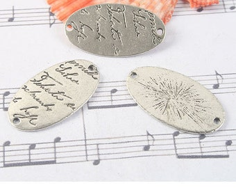 10pcs antiqued silver tone oval pendant /link G1090