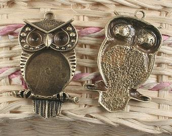 6pcs antiqued bronze owl disign pendant /cabochon setting G907