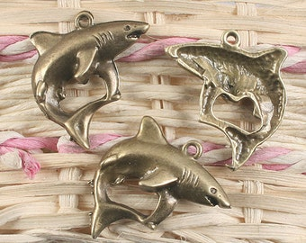 20pcs antique bronze shark design pendant charm G915