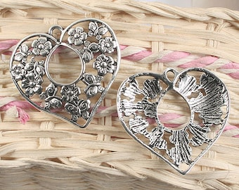 10pcs antique silver flower pattern heart shape pendant charm G917