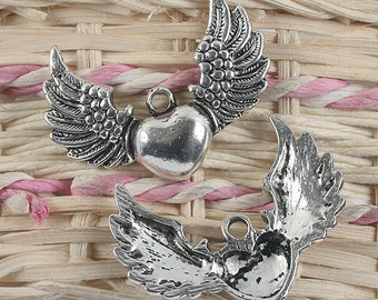 6pcs antiqued silver heart with wings design pendant charm G853