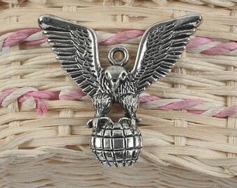 4pcs antiqued silver eagle design pendant charm G880