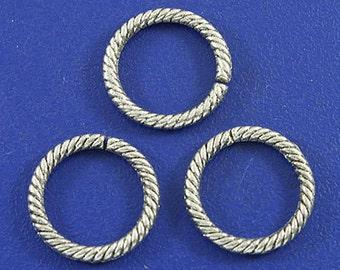 100pcs dark silver open circle charms h3106