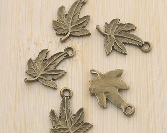 30pcs antiqued bronze leaf design pendant charm G705