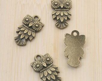 24pcs antiqued bronze owl design pendant charm G708