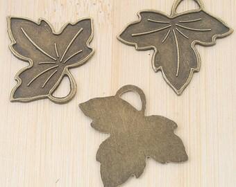 18pcs antiqued bronze leaf design pendant charm G718