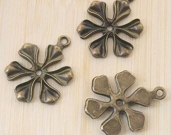 10pcs antiqued bronze leaf design pendant charm G763