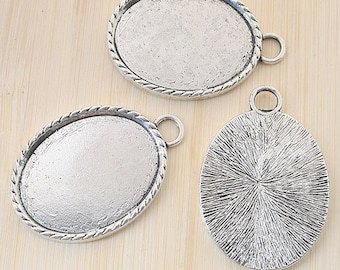 4pcs antiqued silver oval picture frames /pendant G784