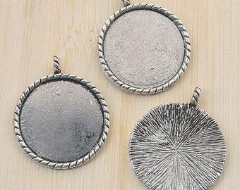 6pcs antiqued silver round picture frames /pendant G786