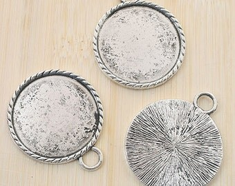 4pcs antiqued silver round picture frames /pendant G787