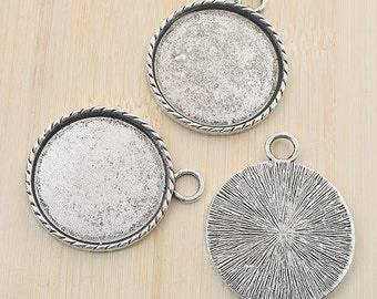 4pcs antiqued silver round picture frames /pendant G788