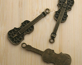 12pcs antiqued bronze music instrument design pendant charm G665