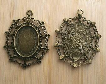4pcs antique bronze pattern rim cabochon settings /pendant G691