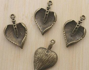 10pcs antiqued bronze leaf style charm pendant G517