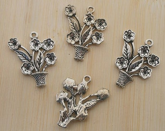 10pcs antiqued silver flower miniascape pendant G519
