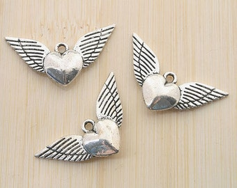 12pcs antiqued silver heart wing pendant charm G549