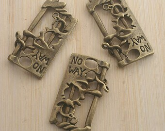 8pcs antiqued bronze NO WAY pendant charm G554