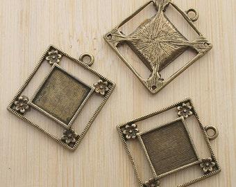10pcs 23mm antique bronze Square cabochon settings G412