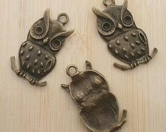 5pcs 38x22mm antique bronze dot owl pendants G414