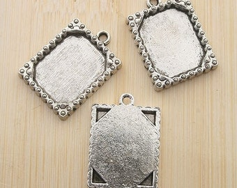 10pcs 20x16mm antiqued silver picture frame charm G453