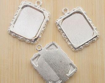 10pcs 20x17mm silver tone picture frame pendant G474