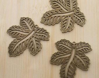 5pcs 40x36mm antiqued bronze hollow leaf charms/pendants G394