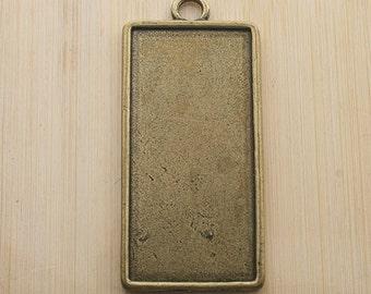 4pcs 54x24mm two side antique bronze rectangle cabochon settings G227