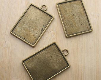 2pcs 44x29mm two side antique bronze rectangle cabochon settings G228