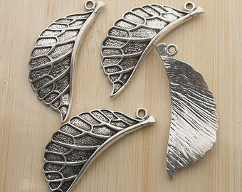 5pcs 43x14mm antique silver leaf drop charms pendants G121