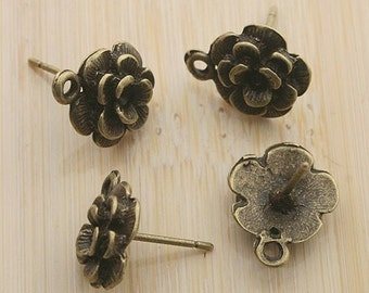 10pcs 12mm antique bronze flower shape earring posts with a loop G126