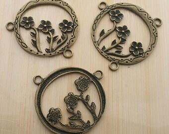 5pcs antique bronze flower in hollow round connector /pendants G159