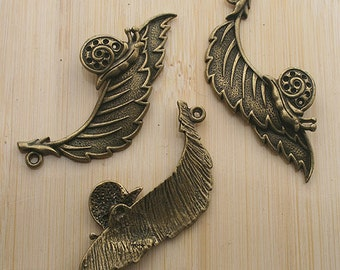 5pcs 50x19mm antique bronze Snail in leaves pendants G176