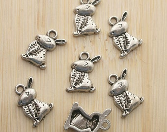 20pcs 13x9mm antique silver Rabbits eat carrots Charm Pendant G196