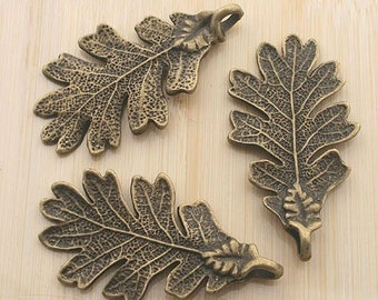2pcs 48x26mm antique bronze tree leaf charm pendants G2