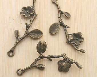 5pcs 40x17mm antique bronze flower branchs leaf charm pendants G5