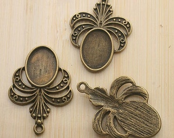 10pcs 32x23mm antique bronze cameo cab setting G39