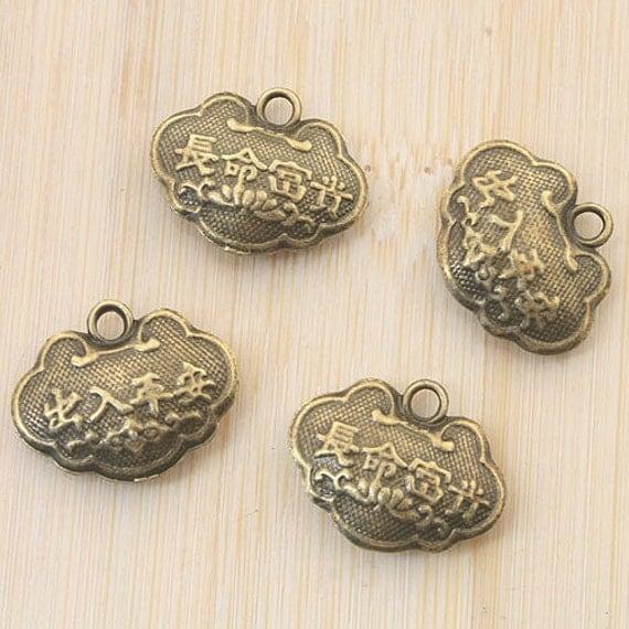 10pcs antiqued bronze two sides longevity locket design pendant G757
