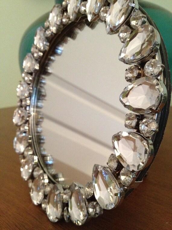 Round Rhinestone Frame Mirror
