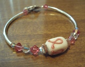 Breast Cancer Bracelet, Pink Bracelet, Pink Ribbon Bracelet, Swarovski Bracelet