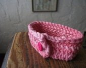 Hand Knit Pink Cotton Bracelet With Button