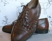 Vintage Leather Brogues Oxfords Basket Weave 7