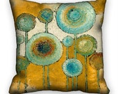 Pillow Cover Abstract Blue Flowers 1 Earthtones 18x18 ac026