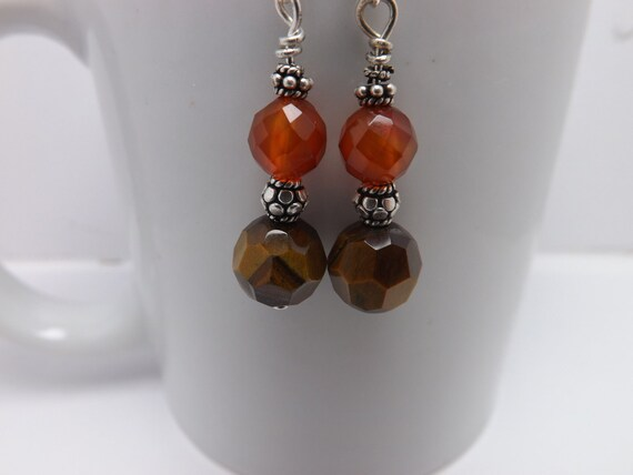 Seraphim Dreams - Beaded Earrings with Faceted Tiger's Eye Beads, Faceted Carnelian Beads & Bali Silver Accents - Dangle Earrings