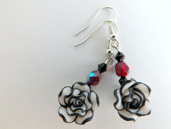 Rose Earrings with Black and White Rose Beads, Black Bicones and Iridescent Ruby Red Crystal Beads - Dangle Earrings