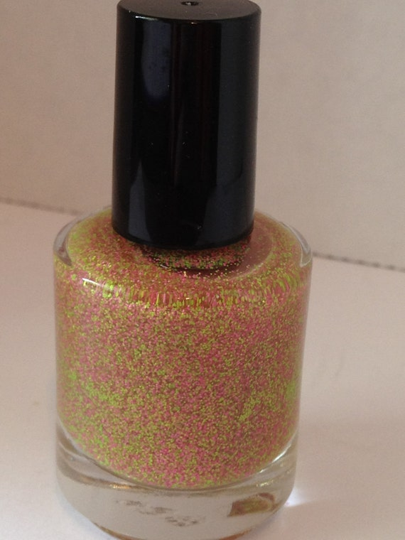 Preppy Matte Pink and Green Glitter Nail Polish 5mL