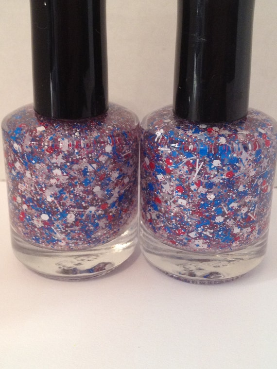 Liberty - Red, White and Blue Matte Glitter Nail Polish with White Stars 15mL