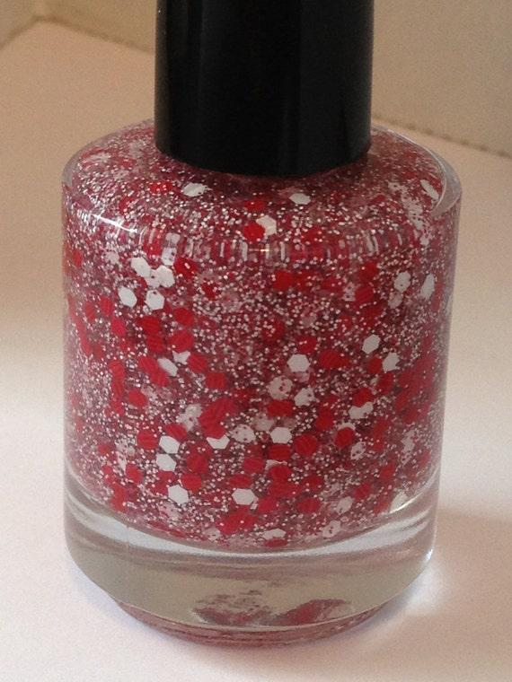 Gingham - Red and White Matte Glitter Nail Polish 15mL