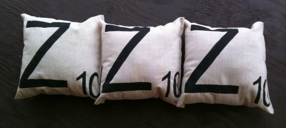 Scrabble Pillows, set of three